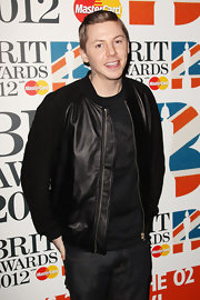 Professor Green finished off his all-black ensemble with a snazzy black leather jacket at the 2012 Brit Awards.