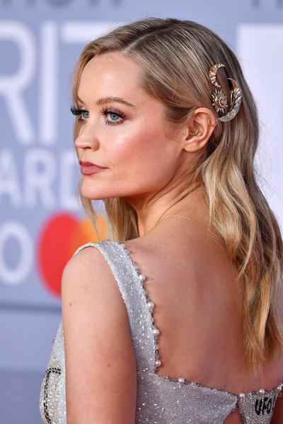 Laura Whitmore adorned her tresses with some sun and moon pins for the 2020 Brit Awards.