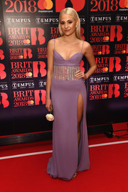 Pixie Lott brought plenty of allure to the Brits after-show party with this beaded lilac slip gown.