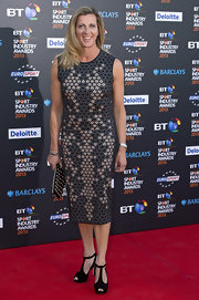 Sally Gunnell chose a printed dress for her cool and contemporary red carpet look.