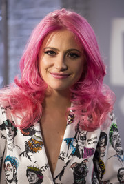 Pixie Lott got playful with these bubblegum-pink curls teamed with a graphic suit during her appearance on Build Ldn.
