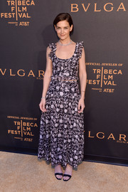 Katie Holmes looked ultra girly in a floral crop-top with ruffled shoulders at the Tribeca Film Festival premiere of 'The Conductor.'