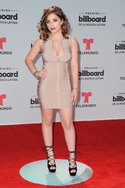 Baby Ariel Lace-Up Heels [fashion model,clothing,dress,red carpet,cocktail dress,shoulder,carpet,hairstyle,premiere,fashion,arrivals,ariel,billboard latin music awards,watsco center,coral gables,florida]