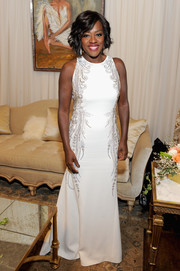 Viola Davis exuded classic elegance in a Swarovski crystal-embellished gown by St. John during the NAACP Image Awards.