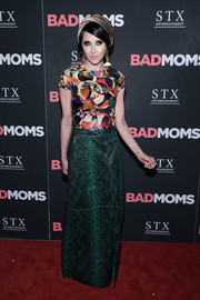 Stacey Bendet wasn't afraid of clashing patterns, pairing her top with a green snakeskin maxi skirt.