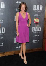 The safe style of LuAnn's premiere dress was enlivened by its electric fuchsia hue.