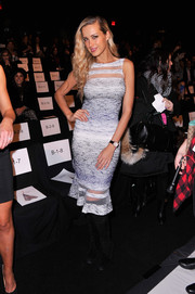 Petra Nemcova oozed sultriness in a tight-fitting sheer-panel dress during the Badgley Mischka fashion show.