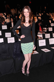 Lydia Hearst looked super skinny in her tight black scoopneck sweater during the Badgley Mischka fashion show.
