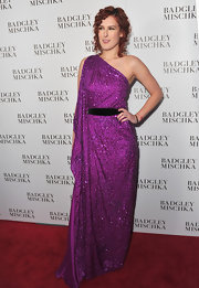 Rumer sparkled in a purple evening gown at the Badgley Mishka store launch.