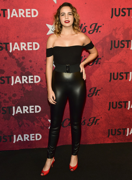 Bailee Madison Off-the-Shoulder Top [clothing,red,latex clothing,leggings,shoulder,lip,premiere,waist,fashion,leather,jared,bailee madison,los angeles,california,halloween party,just jared,goya studios,annual halloween party]