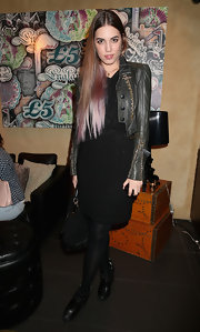 Amber Le Bon hit the launch party of Baku Cellar 164 website wearing studded ankle boots.