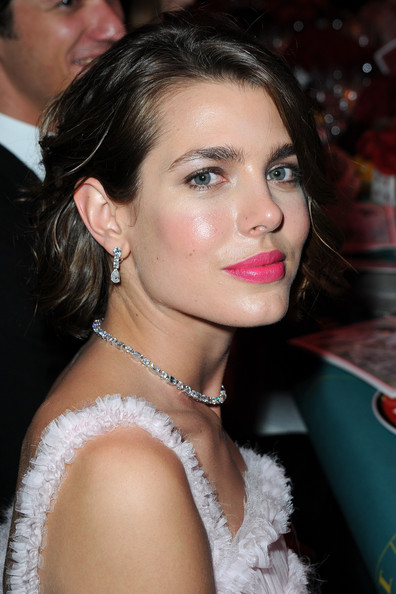 Charlotte Casiraghi rocked a pair of diamond drop earrings and a matching necklace at the Bal de la Rose du Rocher.