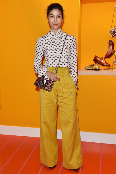 More Pics of Caroline Issa Printed Shoulder Bag (1 of 3) - Shoulder Bags Lookbook - StyleBistro [clothing,yellow,orange,fashion,flooring,trousers,pantsuit,caroline issa,bally womens spring summer 2017 press presentation,milan,italy,bally womens spring summer 2017 presentation]