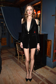 Daria Strokous flashed an eyeful of skin in a tiny cold-shoulder blazer dress by Balmain during the label's aftershow dinner.