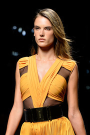 Alessandra Ambrosio looked stunning on the Balmain runway.  We loved her wind-swept tresses!