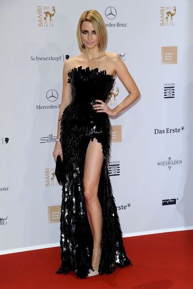 Eva Padberg paired her sexy black evening gown with pale pink stilettos.