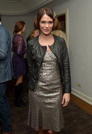 Katie Aselton added some warmth and edge to her sequined dress with a black leather jacket when she attended the Banana Republic L'Wren Scott collection launch.
