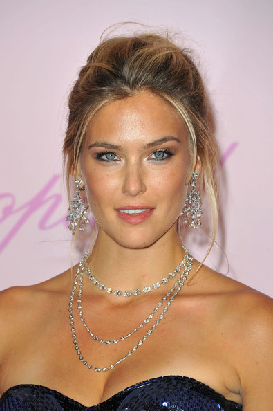 Bar Refaeli Layered Diamond Necklace [hair,face,hairstyle,eyebrow,blond,lip,shoulder,chin,beauty,forehead,best friend,girls,bar refaeli,diamonds,model,diamonds are girls best friend,cannes,france,cannes film festival,event]