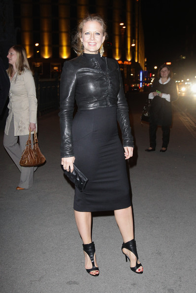 Barbara Schoeneberger Leather Clutch [music,clothing,dress,fashion model,fashion,leather,shoulder,little black dress,leg,joint,ankle,barbara schoeneberger,helps - pre,dinner,berlin,germany,grill royal,musik hilft,charity dinner]