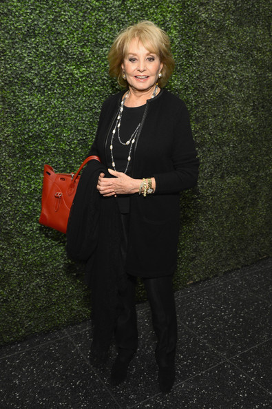 Barbara Walters Evening Coat [ralph lauren presents exclusive screening of hitchcock,barbara walters,to catch a thief celebrating the princess grace foundation,standing,blond,footwear,formal wear,outerwear,dress,suit,little black dress,tuxedo,blazer,moma,new york city]
