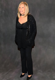 Barbra Streisand's sequined black jacket was a glam finish to her ensemble at the 'Love is the Answer' after-party.