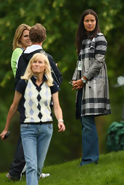Ana Ivanovic's checkered trenchcoat was a stylish complement to her jeans at the Barclays Scottish Open.