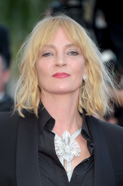 Uma Thurman rocked messy waves with parted bangs at the Cannes Film Festival screening of 'Based on a True Story.'