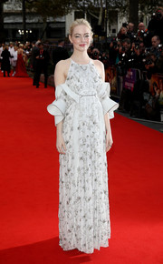 Emma Stone looked darling in a beaded white cold-shoulder gown with sculptural sleeves at the European premiere of 'Battle of the Sexes.'
