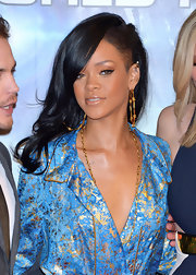 Rihanna arrived at the Japanese premiere of 'Battleship' wearing her newly tinted locks with an undercut and long layers.
