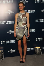 Brooklyn Decker attended a photocall for 'Battleship' wearing a pair of strappy black heeled sandals.
