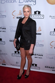 Nastia Liukin was seen at the Beach Bunny Spring 2011 fashion show wearing a pair of short shorts and a fitted blazer.