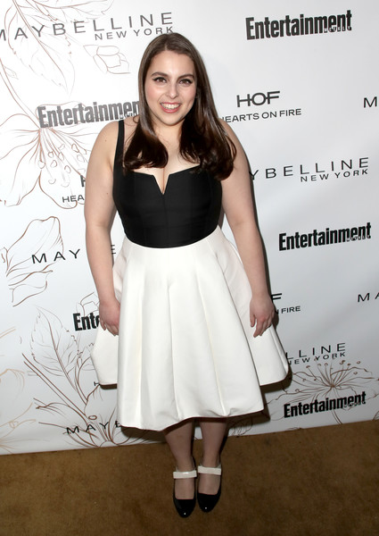 Beanie Feldstein Pumps [clothing,cocktail dress,dress,white,hairstyle,black-and-white,shoulder,fashion,premiere,footwear,nominees,beanie feldstein,screen actors guild awards,california,los angeles,chateau marmont,new york,entertainment weekly hosts celebration,maybelline,nominees celebration]