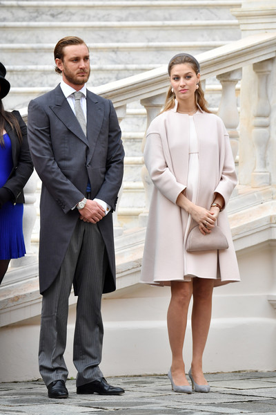 Beatrice Borromeo Pumps [photograph,clothing,suit,fashion,street fashion,formal wear,white-collar worker,snapshot,standing,footwear,pierre casiraghi,beatrice borromeo,monaco,monaco palace courtyard,monaco national day celebrations]