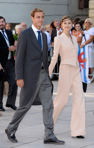 Beatrice Borromeo Pantsuit [suit,clothing,formal wear,fashion,white-collar worker,pantsuit,event,tuxedo,outerwear,dress,prince,beatrice borromeo,claire lademacher,pierre casiraghi,basilique sainte marie-madeleine,saint-maximin-la-sainte-baume,france,felix of luxembourg,wedding]