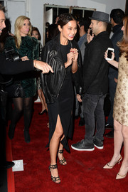 Jamie Chung arrived for the 'Beauty Book for Brain Cancer' edition 2 launch party wearing a black leather jacket over an LBD.
