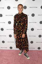 Adwoa Aboah chose a long-sleeve floral midi dress for the Beautycon Festival LA 2018.