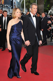 Jodie donned a one-shoulder sleek navy evening gown for the Cannes Film Festival.