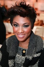 Bria Murphy wore her short hair in a fun spiky style for the Bebe fashion show.