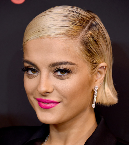 Bebe Rexha Dangling Diamond Earrings [hair,face,eyebrow,hairstyle,lip,blond,chin,forehead,beauty,cheek,spotify,arrivals,bebe rexha,the theatre,california,los angeles,ace hotel,2nd annual secret genius awards]