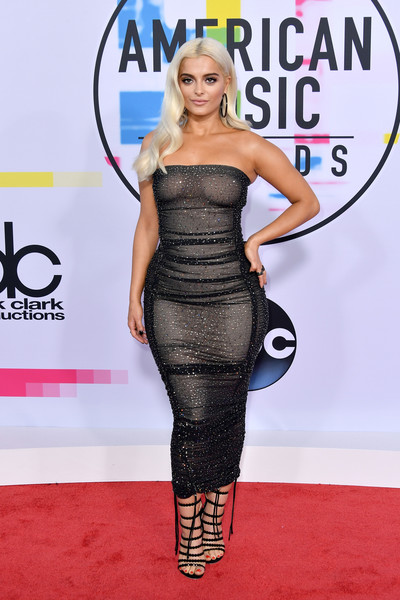 Bebe Rexha Gladiator Heels [flooring,carpet,fashion model,shoulder,joint,red carpet,fashion,cocktail dress,little black dress,arrivals,bebe rexha,american music awards,microsoft theater,los angeles,california]