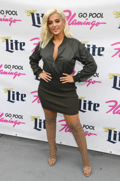 Bebe Rexha Gladiator Heels [bebe rexha performs at the flamingo go pool,clothing,pink,dress,fashion,footwear,little black dress,cocktail dress,leg,blond,shoulder,bebe rexha,las vegas,pool,nevada,flamingo las vegas,flamingo go]