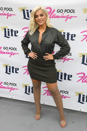 Bebe Rexha gave her look a sexy punch with a pair of over-the-knee gladiator heels.