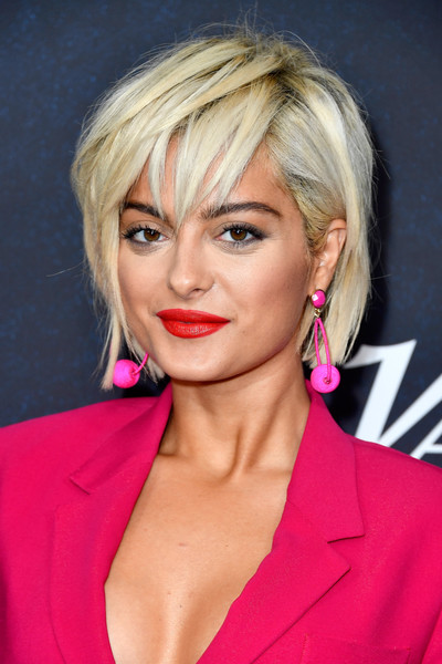 Bebe Rexha Messy Cut [hair,face,blond,hairstyle,lip,chin,eyebrow,pink,beauty,forehead,arrivals,bebe rexha,power of women,variety,los angeles,beverly hills,california,beverly wilshire four seasons hotel]