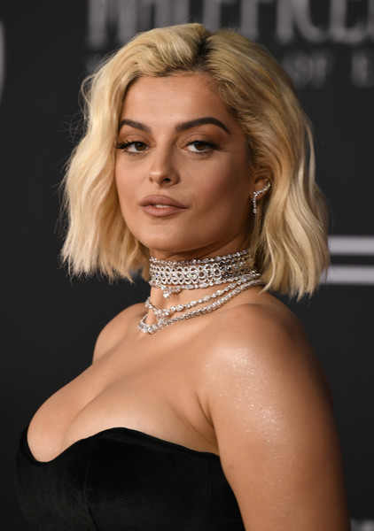 Bebe Rexha Short Wavy Cut [maleficent: mistress of evil,hair,face,blond,hairstyle,beauty,shoulder,eyebrow,chin,lady,lip,arrivals,bebe rexha,\u0153maleficent,el capitan theatre,california,los angeles,world premiere of disney,red carpet,world premiere]