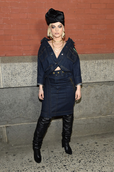 Bebe Rexha Skirt Suit [marc jacobs,arrivals,bebe rexha,clothing,fashion,outerwear,footwear,leg,street fashion,joint,riding boot,knee,headgear,marc jacobs fall 2018 show,new york city,park avenue armory]