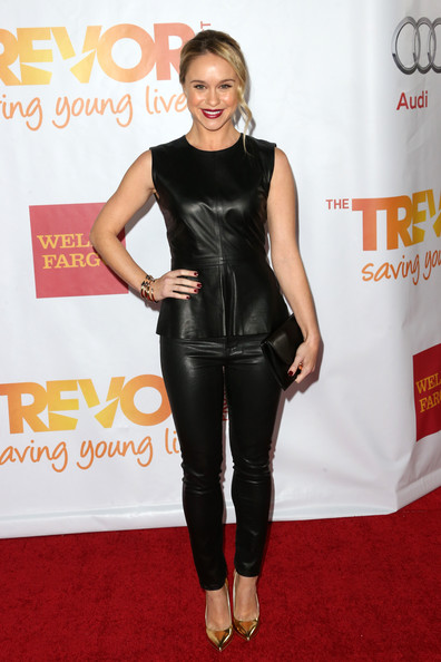 Becca Tobin Leather Pants [clothing,carpet,latex clothing,red carpet,leggings,footwear,flooring,leather,tights,dress,becca tobin,jane lynch,toyota for the trevor project - arrivals,trevorlive la,hollywood palladium,california,toyota,trevor project]