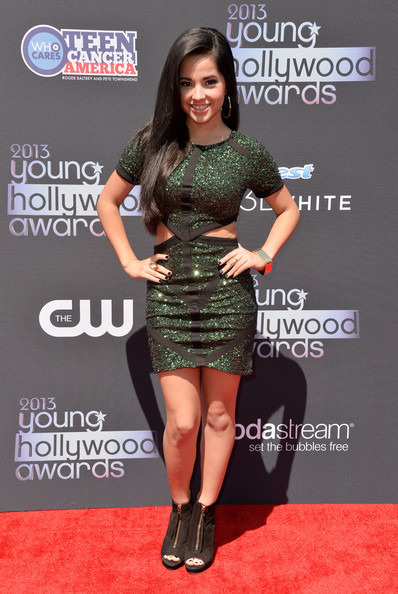 Becky G Cutout Dress [flooring,carpet,shoulder,fashion model,red carpet,premiere,crest 3d white,becky g,young hollywood awards,the broad stage,santa monica,california,sodastream,cw network - arrivals]