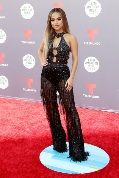 Becky G Jumpsuit [red carpet,carpet,clothing,hairstyle,long hair,flooring,dress,fashion,premiere,fashion model,arrivals,becky g,latin american music awards,dolby theatre,hollywood,california]