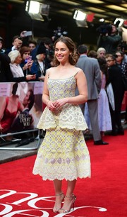 Emilia Clarke was a sophisticated beauty in a pale yellow Ulyana Sergeenko dress with embroidered details while posing on the red carpet at the 'Me Before You' premiere in London.