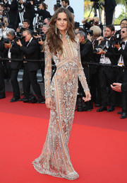 Izabel Goulart worked an intricately beaded Roberto Cavalli gown at the Cannes Film Festival screening of 'The Beguiled.'